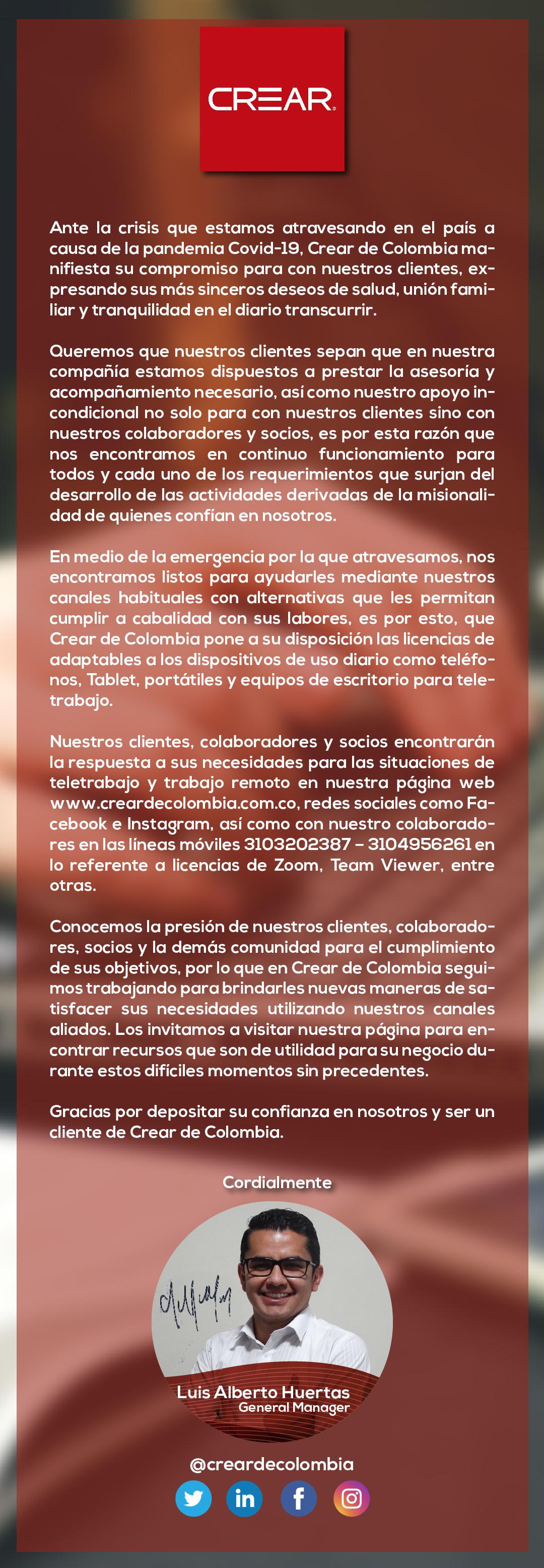 Mensaje De Crear De Colombia